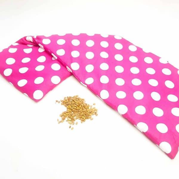 Pittenzak XL roze met witte stippen