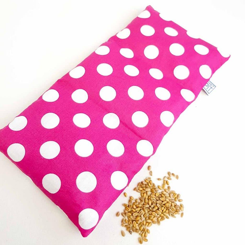Pittenzak – warmtekussen en coldpack roze met witte stippen