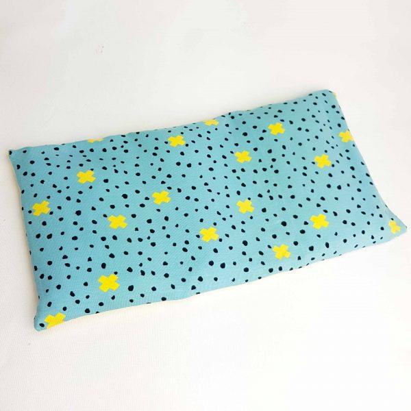 Pittenzak coldpack en warmtekussen geel en turquoise