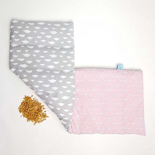 Pittenzak XL grijs, wit en oud roze