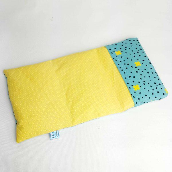 Pittenzak warmtekussen en coldpack geel en turquoise